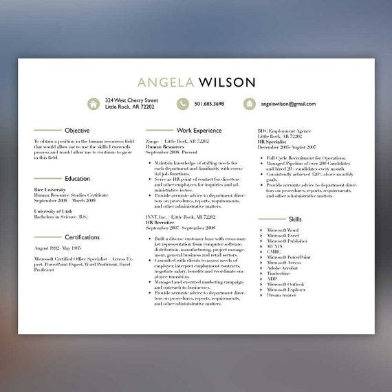 Creative Resume Template Professional Resume Instant Download - hr recruiter resume