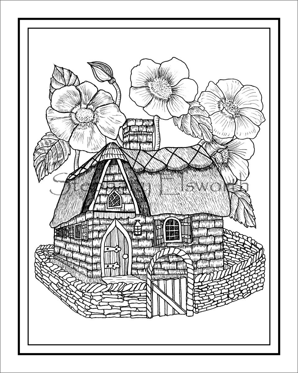 Stone and thatch fairy house printable instant download pdf coloring page