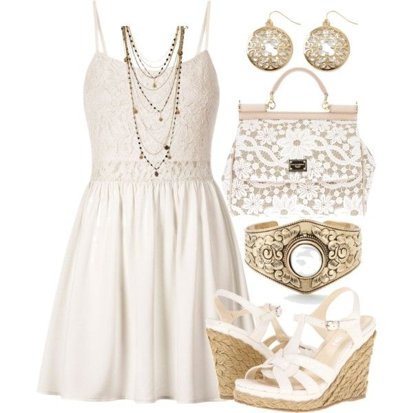 Gold white summer dress outfit wedge heels lace purse metal chains ...