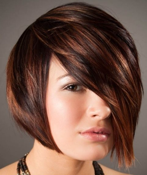 Chestnut Brown Hair With Caramel And Copper Highlights Short Hair Google Search Short Hair Highlights Hair Highlights Short Hair Styles