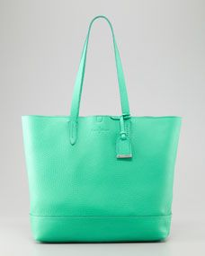 Haven Pebbled Leather Tote Bag, Green