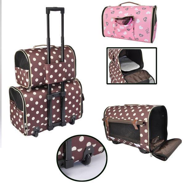 sac de transport double sur roulettes cam tartan pour chien et chat paniers et sacs de. Black Bedroom Furniture Sets. Home Design Ideas