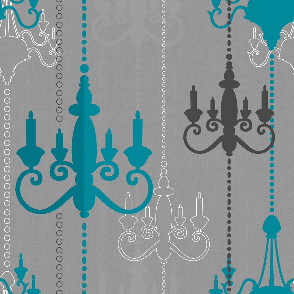 Wilko Chandelier Wallpaper Teal/Grey WP332112 Turquoise