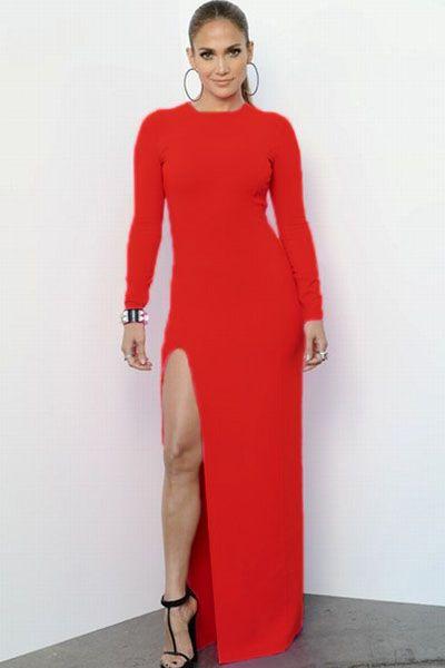 885f6699970 Red Long-sleeve Maxi Dress with Side Split   Belleslim.com (  strapless   longsleeve  style  blue  maxi  dresses)