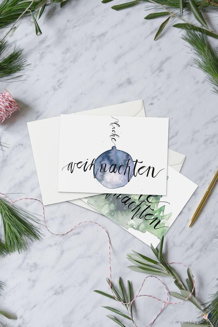 Drei kostenlose Aquarell Printables zum Download für Deine Weihnachtspost. Einf...