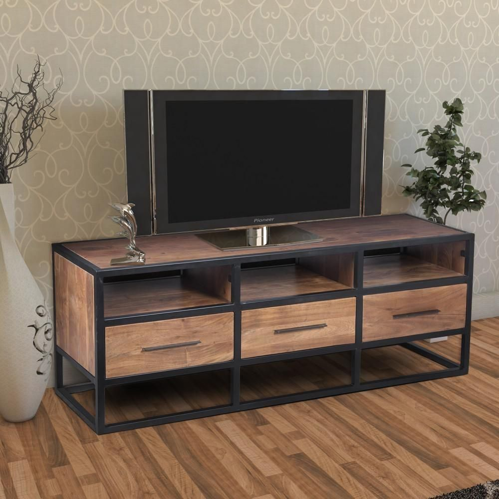 The Urban Port 16 In Brown And Black Wood Tv Stand With 3 Drawer Fits Tvs Up To 54 In With Built In Storage Upt 1 In 2020 Wood Tv Unit Wood Tv