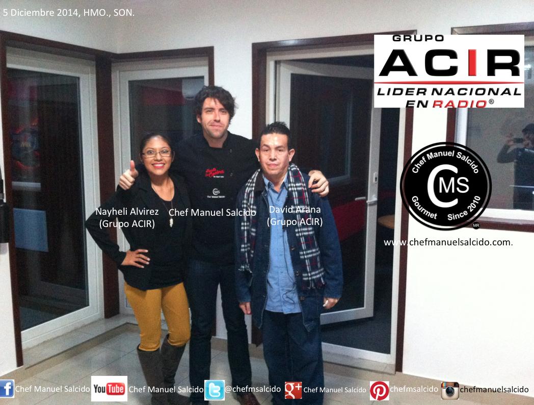 muchas gracias Nayheli Alvirez y Lic David Arana Dueñas por todas las atenciones recibidas hacia mi persona, en Grupo Acir Hermosillo!!! buena vibra!!! #chefcms #grupoacir #acir #radio #gracias