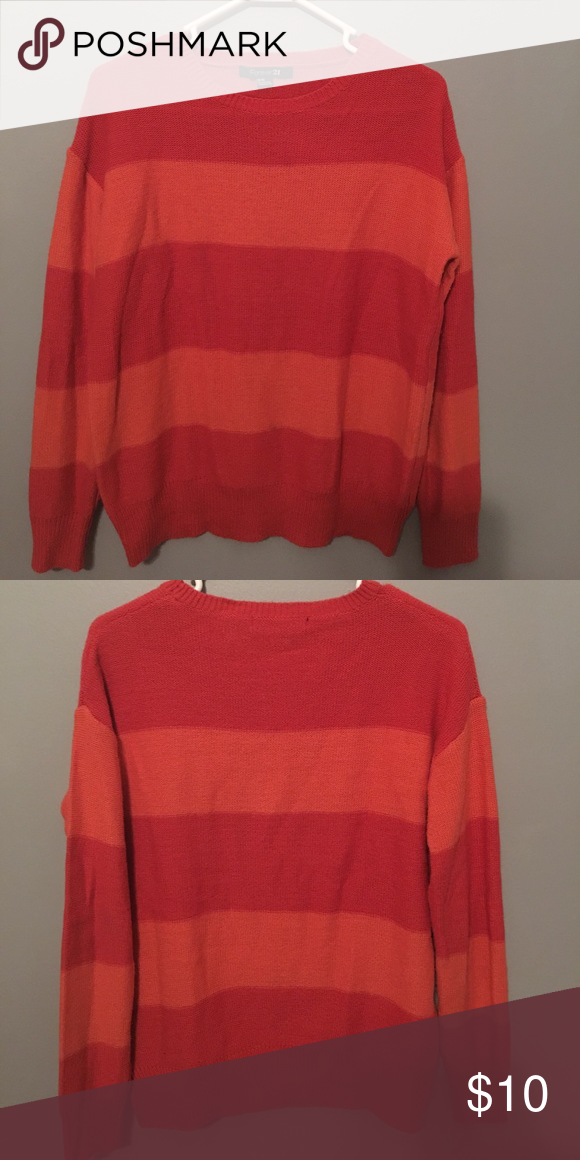 9f41216296a4 Women s crew neck sweater So cute! Dark and light orange alternating  stripes. Acrylic and wool blend. Adorable with dark jeans. Forever 21  Sweaters Crew ...