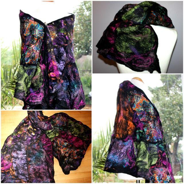 "Nuno Felt Jewelry | Black nuno felted wool & silk Shawl wrap scarf ""Stained Glass"" green ..."