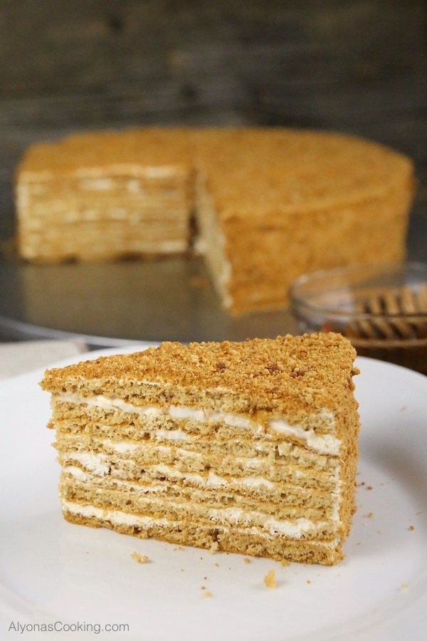Honey Cake Recipe (Medovik) with Step-by-Step Photos