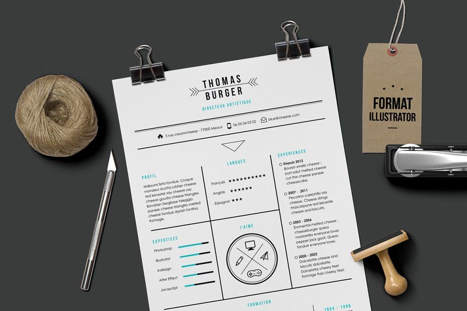 Burger resume template illustrator in 2020 resume