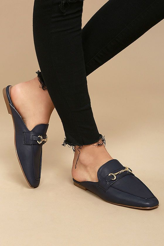 b4ef72b7555 The Steven by Steve Madden Razzi L Navy Leather Loafer Slides are  effortlessly stylish! Genuine leather is molded to any easy-to-wear slide  silhouette with ...