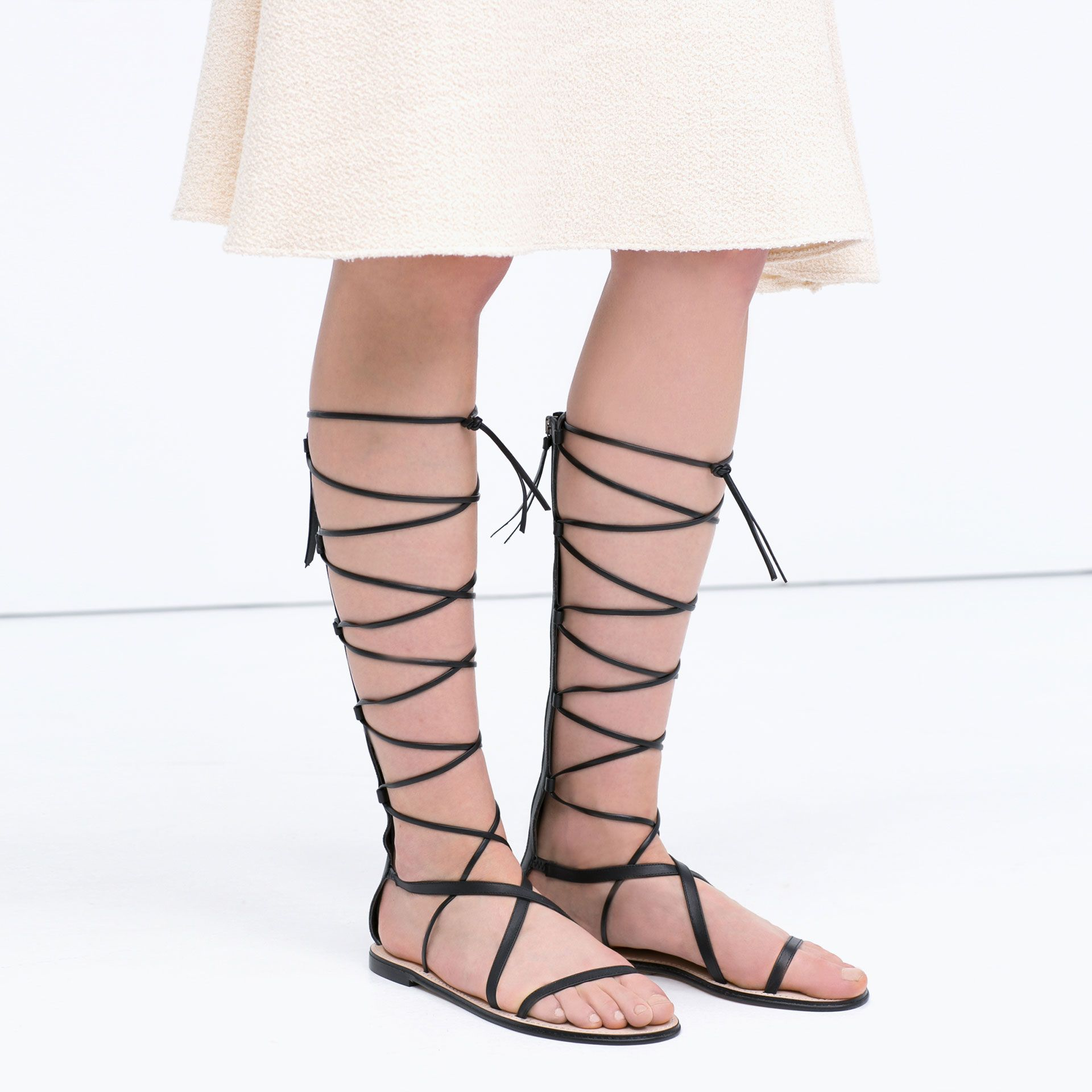 1b25bc395617 Zara Knee-High Gladiator Sandals