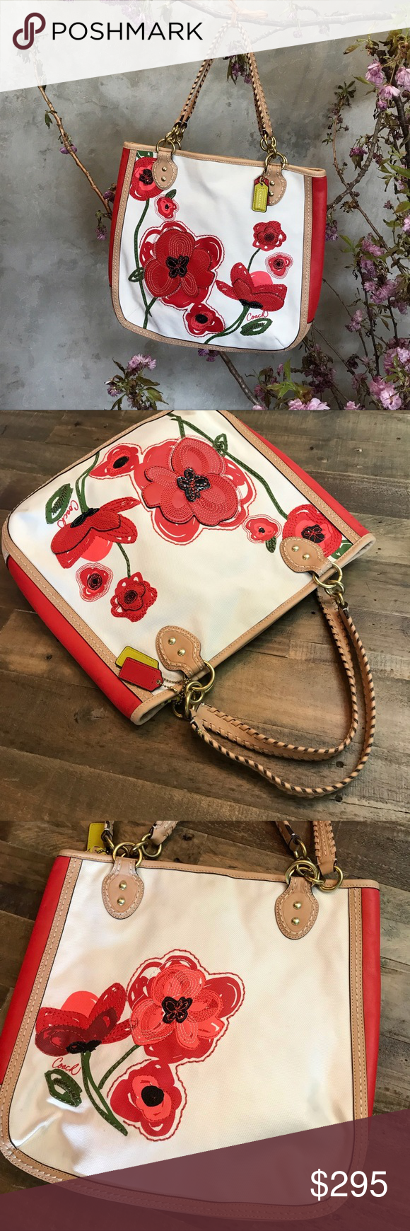 Spotted while shopping on Poshmark  Coach poppy limited edition red appliqué  tote bag!  poshmark  fashion  shopping  style  Coach  Handbags 5b083bfb56