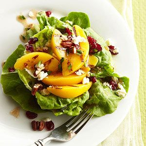 Boston Lettuce Stacks with Grilled Peaches, Feta and Pecans