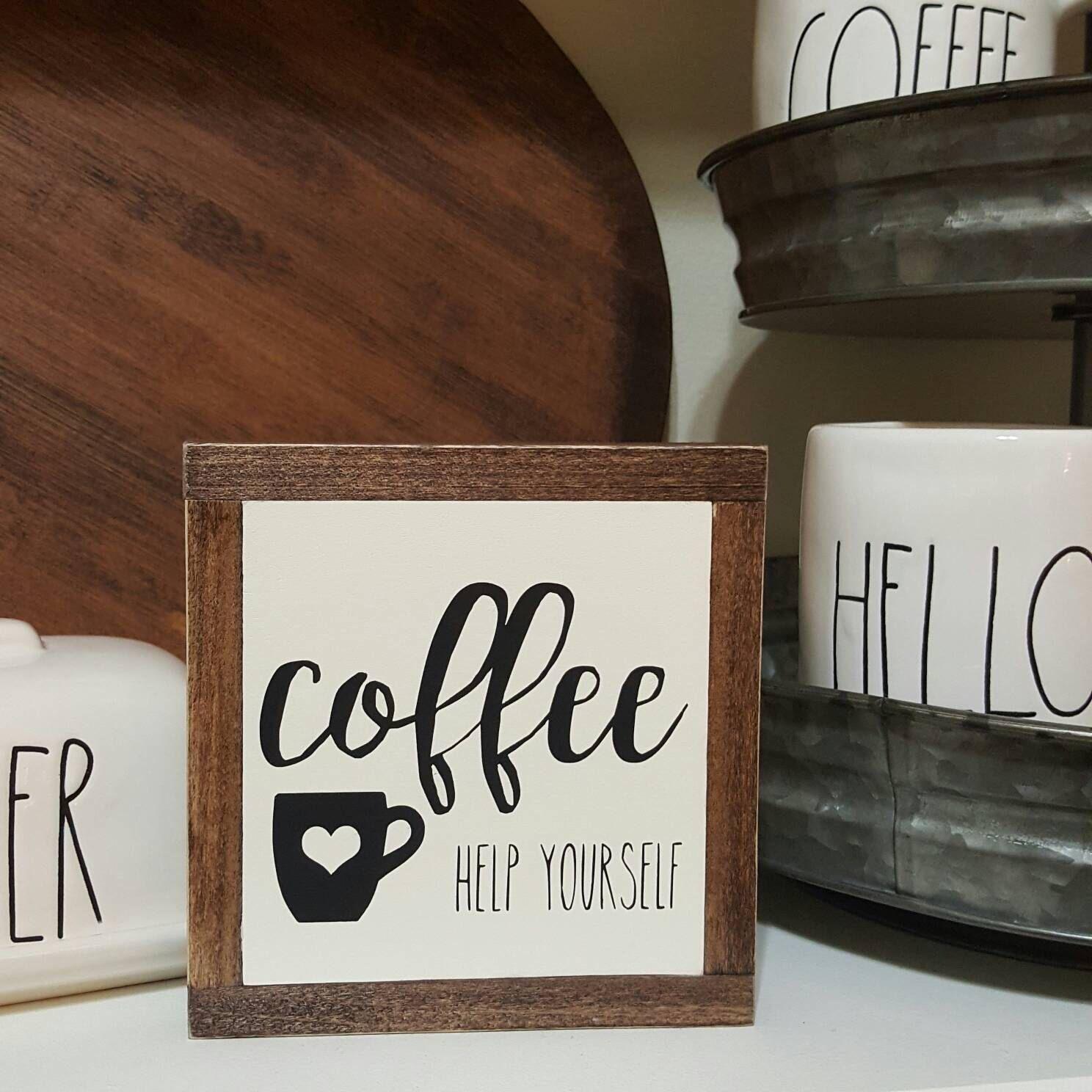 Coffee Bar Mini Sign, Coffee Help Yourself Mini Sign, Tiered