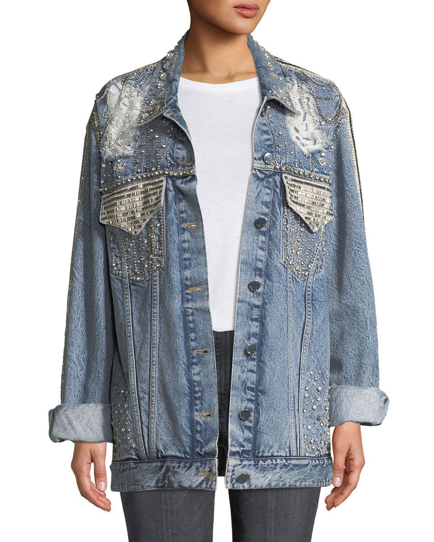 Alice Olivia Jeans Oversized Embellished Denim Jacket Embellished Denim Jacket Embellished Denim Denim Jacket