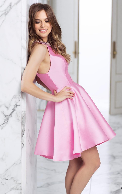 Beaded Halter Dress by Tarik Ediz 50015 | Skater Dresses