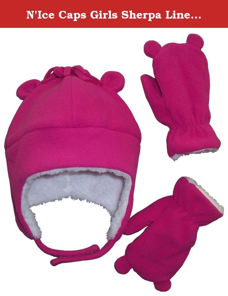 NIce Caps Little Girls and Baby Sherpa Lined Fleece Hat Mitten Set with Ears