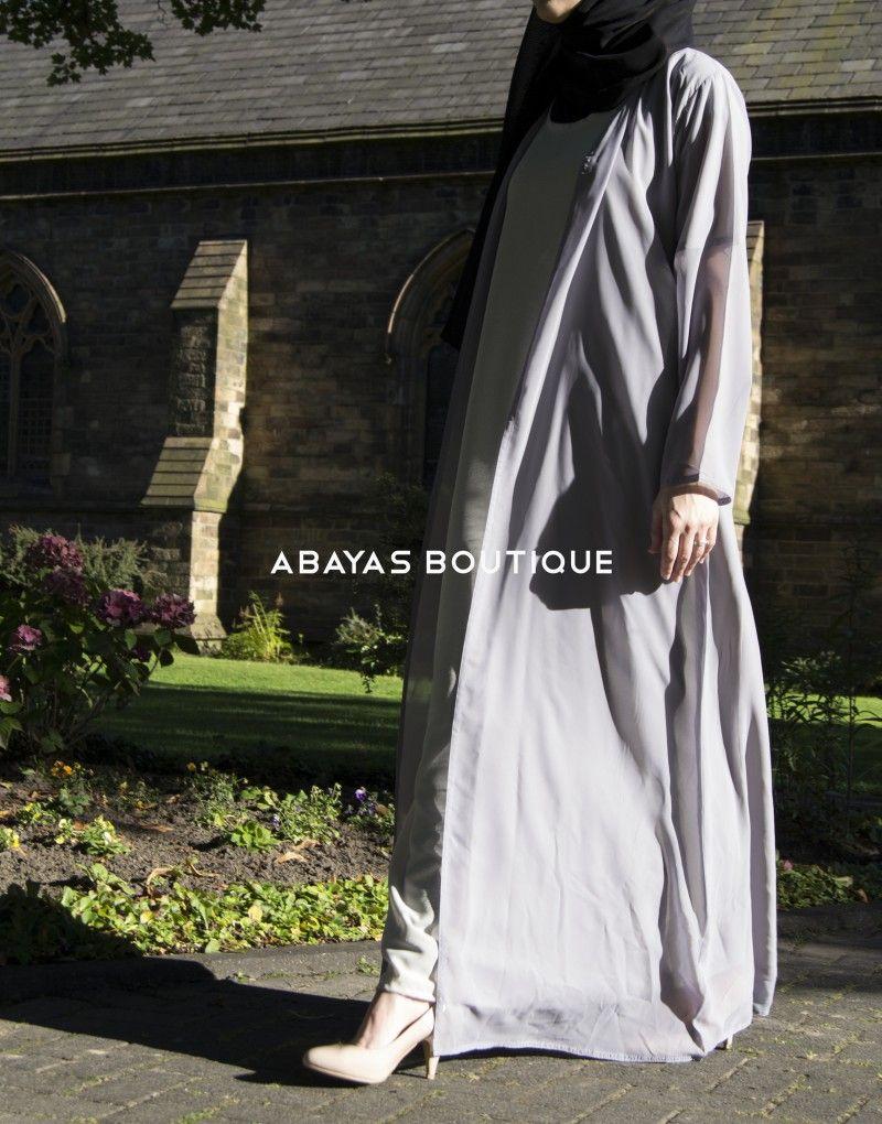 Light Grey Chiffon Cardigan - Abayas Boutique | Abayas | Pinterest ...