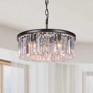 Kosas Home Irene Bronze Iron, Crystal 16-inch Chandelier | Overstock.com Shopping - The Best Deals on Chandeliers & Pendants