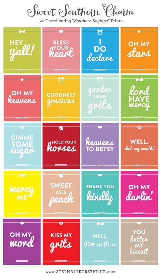 Southern Sayings: Set of 3 - 8 x 10 Sweet Southern Charm Prints - Wall Art via Etsy