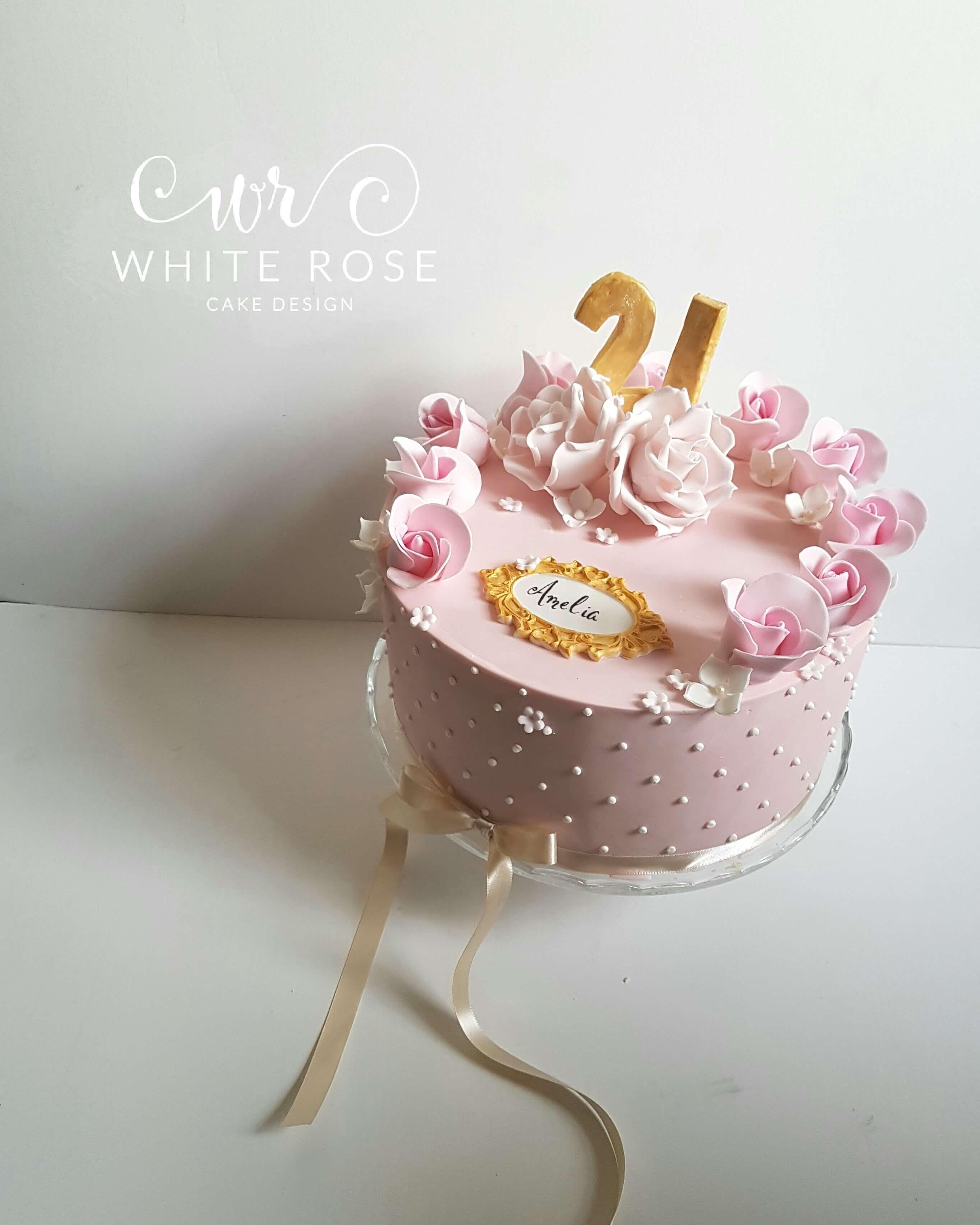 21st Birthday Cake With Roses By White Rose Cake Design Bespoke Cake