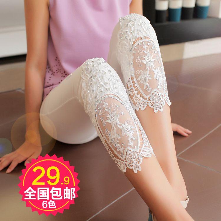 summer 2014 women's beautiful rhinestone lace legging(China (Mainland))