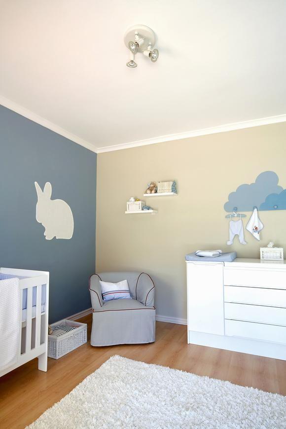 Blau Beige Farbkombination Babyzimmer Wandfarbe