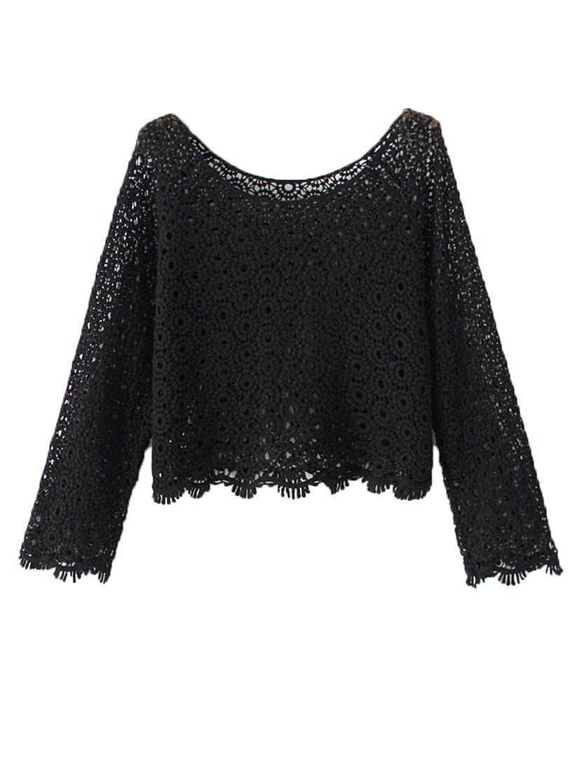 409ab156f0e Black Lace Crochet Long Sleeve Crop Top #Sexy #Black_Lace #Crop #Top  #Fashion