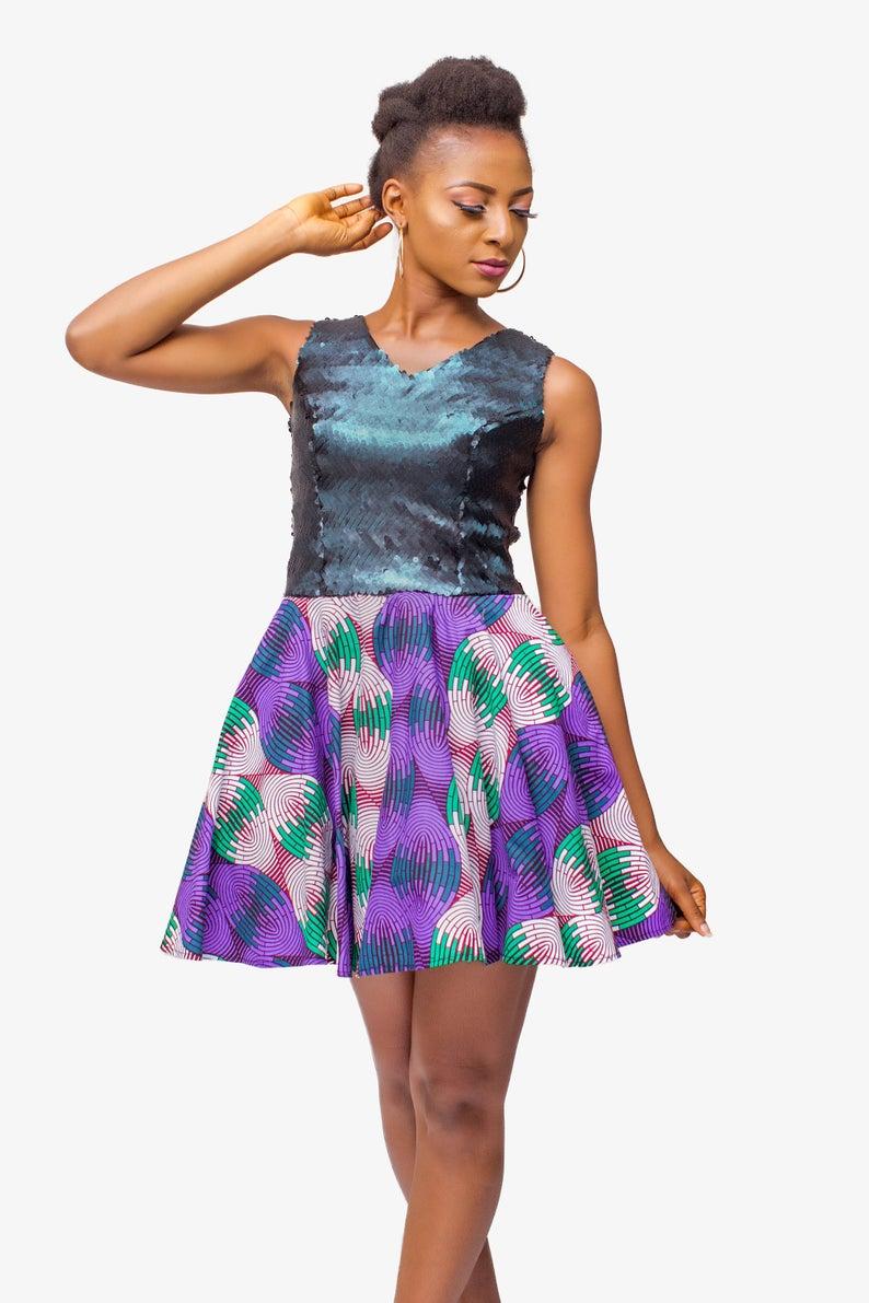 African Print Sequin Dress, Ankara Dress, African Womens Clothing, African Dress, African Womens Dress, Sequin Dress, Womens Clothing #africanprintdresses