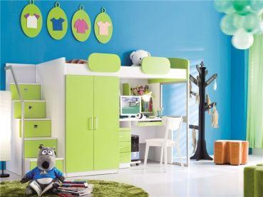 Hochbett GEKO + Schreibtisch + Schrank + Treppe | Kinderzimmer ...