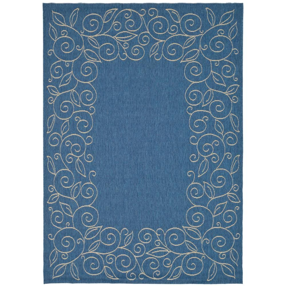 Safavieh Courtyard Blue Beige 9 Ft X 12 Ft Indoor Outdoor Area Rug Cy5139c 9 The Home Depot Outdoor Runner Rug Beige Area Rugs Area Rugs