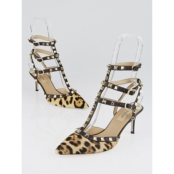 a36a208bc26 Pre-owned Valentino Brown Leopard Print Pony Hair and Leather Rockstud... (