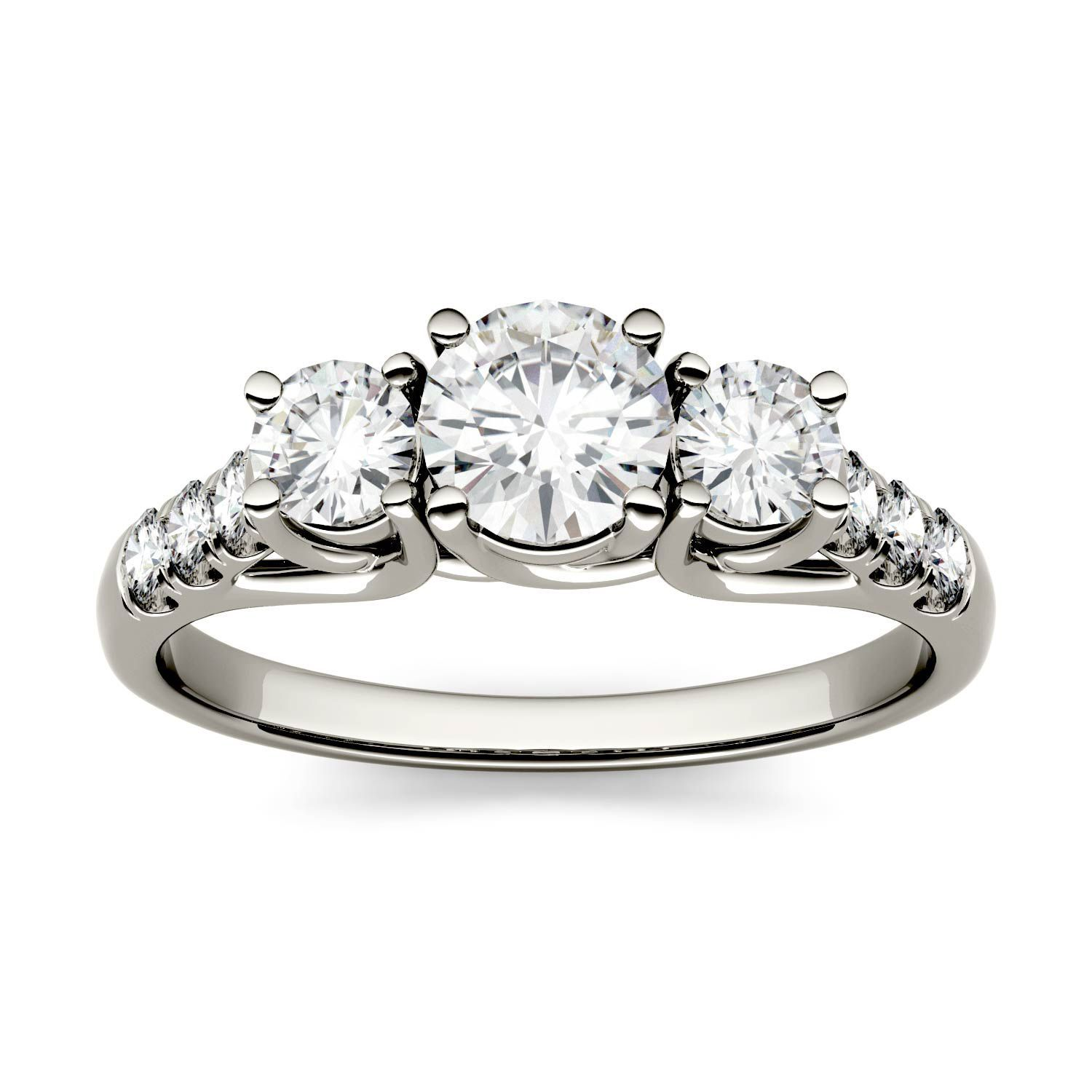 Forever one ctw round colorless moissanite trellis three stone