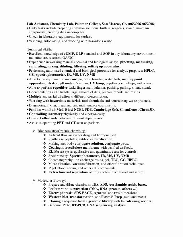 Lab Technician Resume Examples Best Of Resume Examples