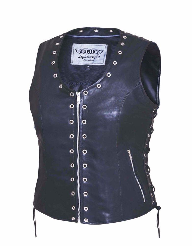 Womens Motorcycle Genuine Cowhide Leather Ladies Classic Zip Vest Gun Pockets