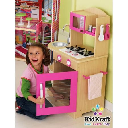 Pink Wooden Kitchen