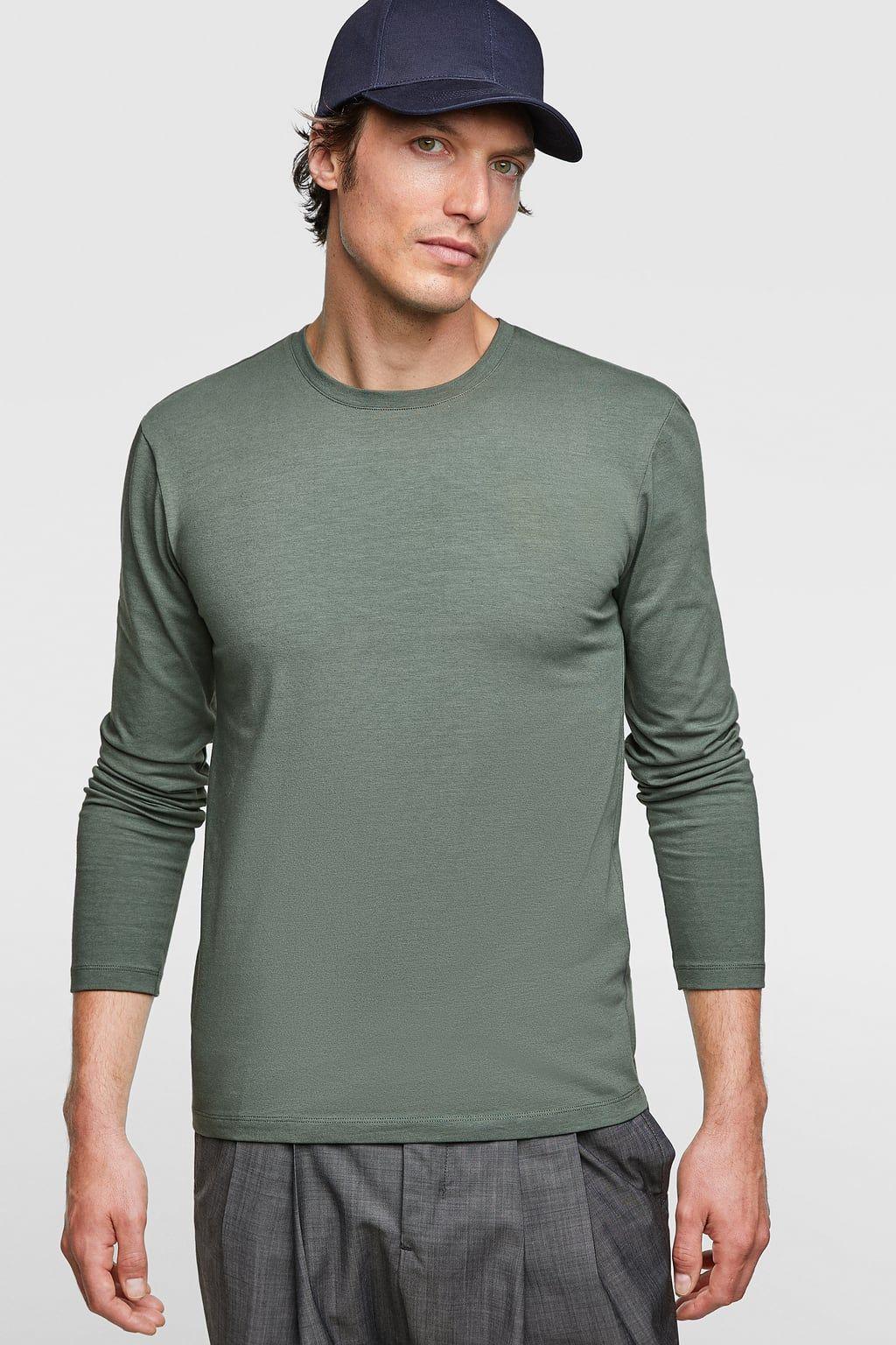 Image 2 of basic slim fit tshirt from zara long sleeve