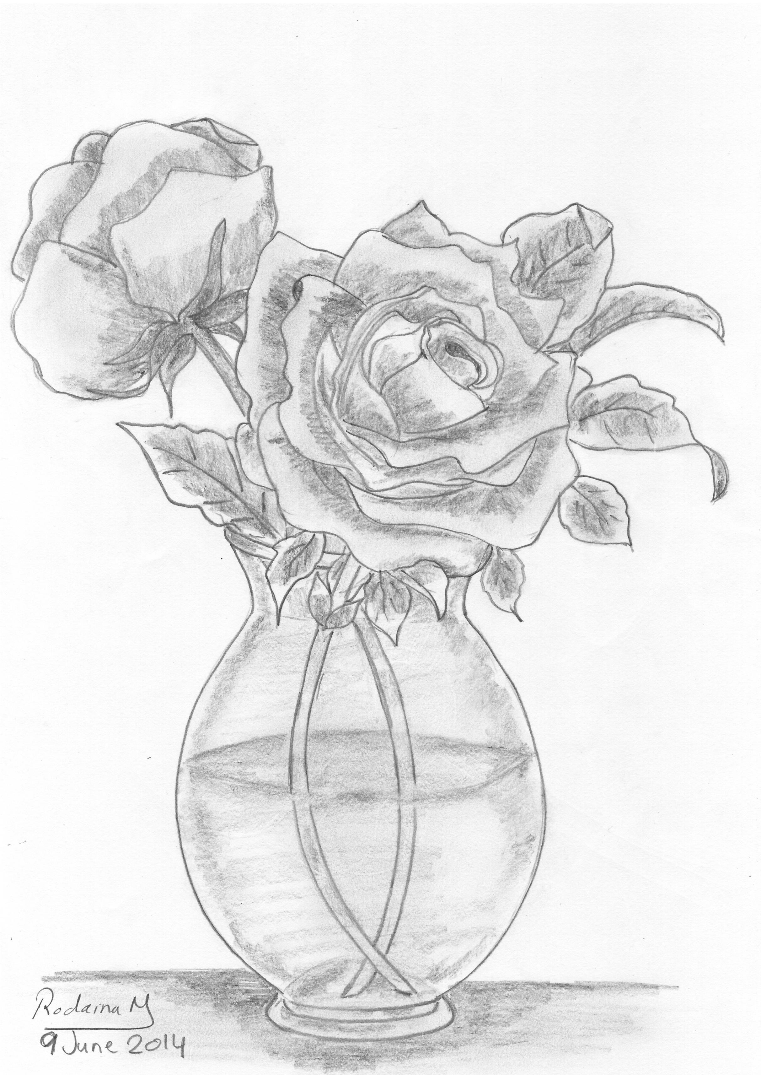 Vase Of Roses Drawn In 2014 Pencil Sketch Roses Flowers Vase Flower Vase Drawing Flower Drawing Roses Drawing