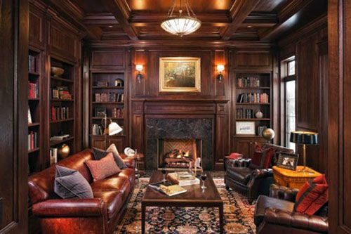 classic traditional interior design ideas Walnut Paneled Library ...