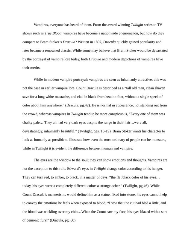 Essay Thesis Statement Comparing Vampires In Twilight And Bram Stokers Dracula  Kibin Sample Of English Essay also Topic English Essay Comparing Vampires In Twilight And Bram Stokers Dracula  Kibin  Narrative Essay Topics For High School Students