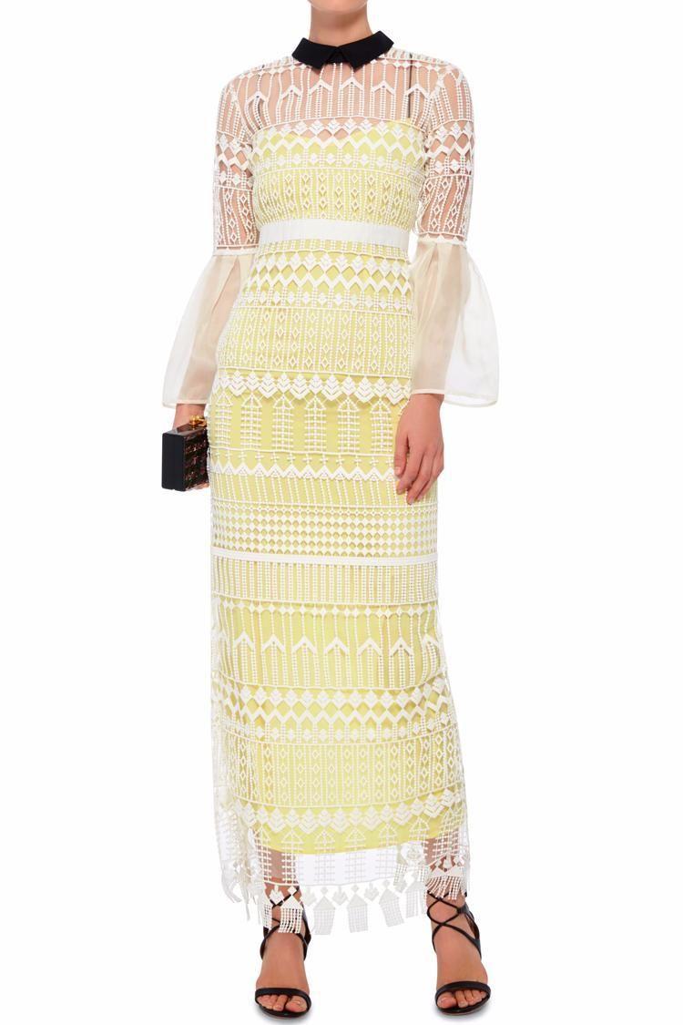 Self-Portrait White Bell Sleeved Art Deco Dress $99/Week