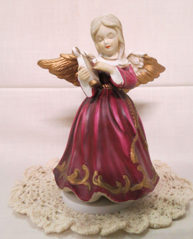Vintage Angel Music Box Porcelain Silent Night Christmas Angel With Lyre Revolving Angel Hand Painted by KansasKardsStudio on Etsy
