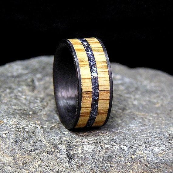 Jack Daniels Wood Titanium Or Carbon Fiber Wedding By HolzRingShop 27500