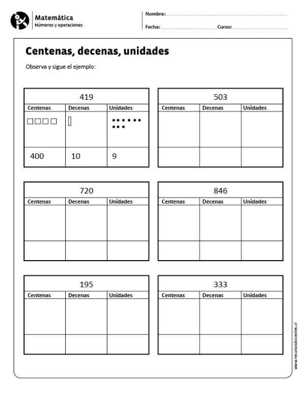 Centenas Decenas Unidades Math Work Math Resources Math For Kids