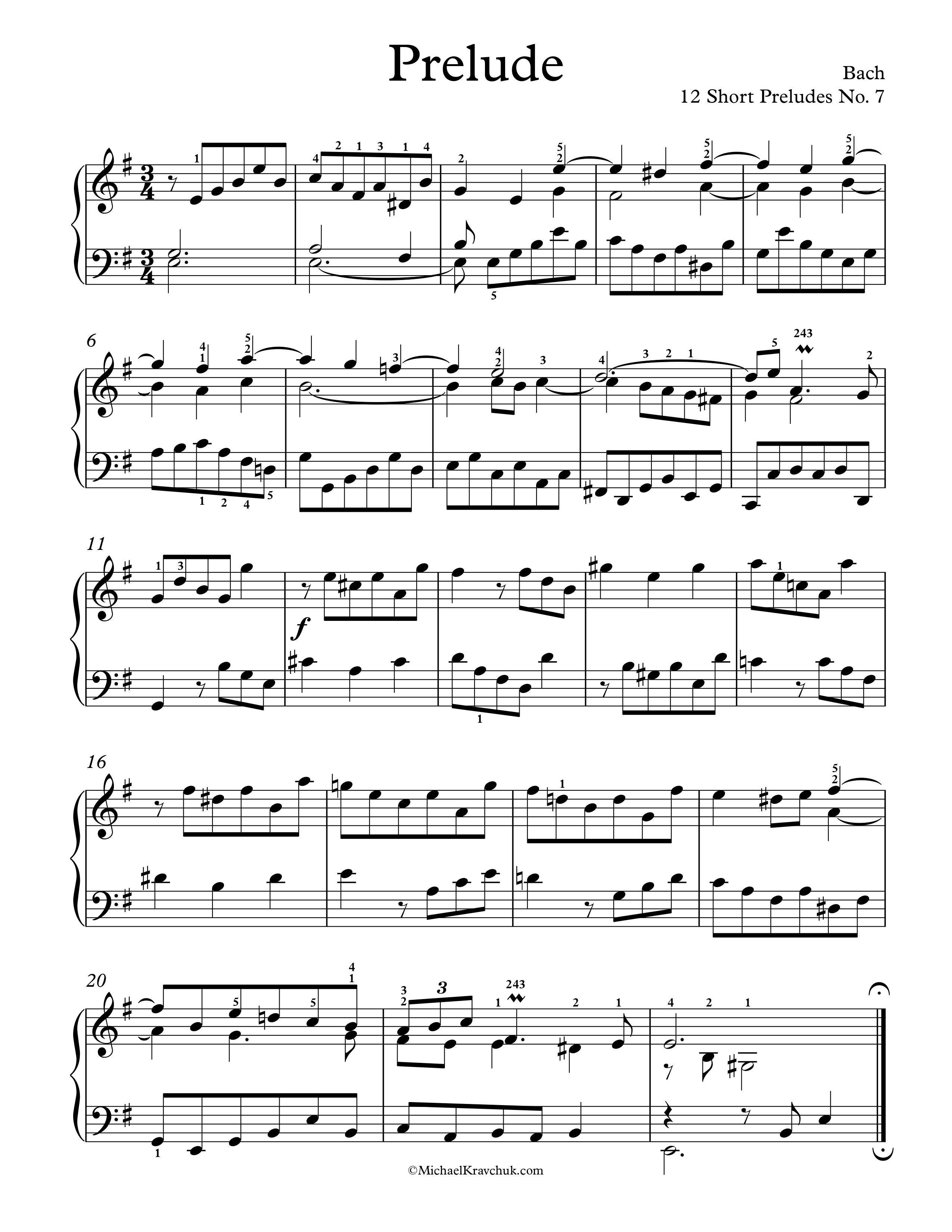 Free Piano Sheet Music 12 Short Preludes No 7 Bach Enjoy