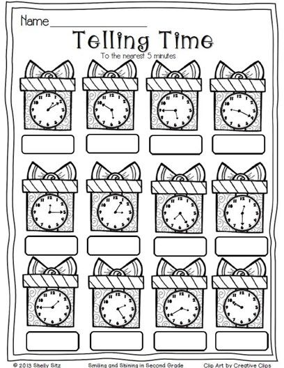 Teaching StrategiesChristmas Math--telling time to the - time worksheets