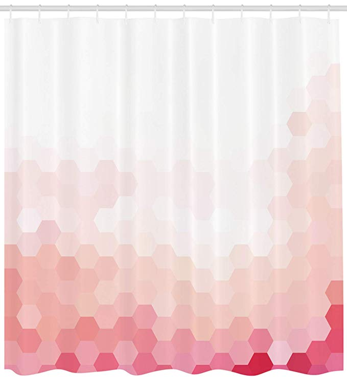 Amazon Com Ambesonne Pale Pink Shower Curtain Gradient Toned Geometric Digital Abstract Hexagon Teal Shower Curtains Pink Shower Curtains Bathroom Decor Sets