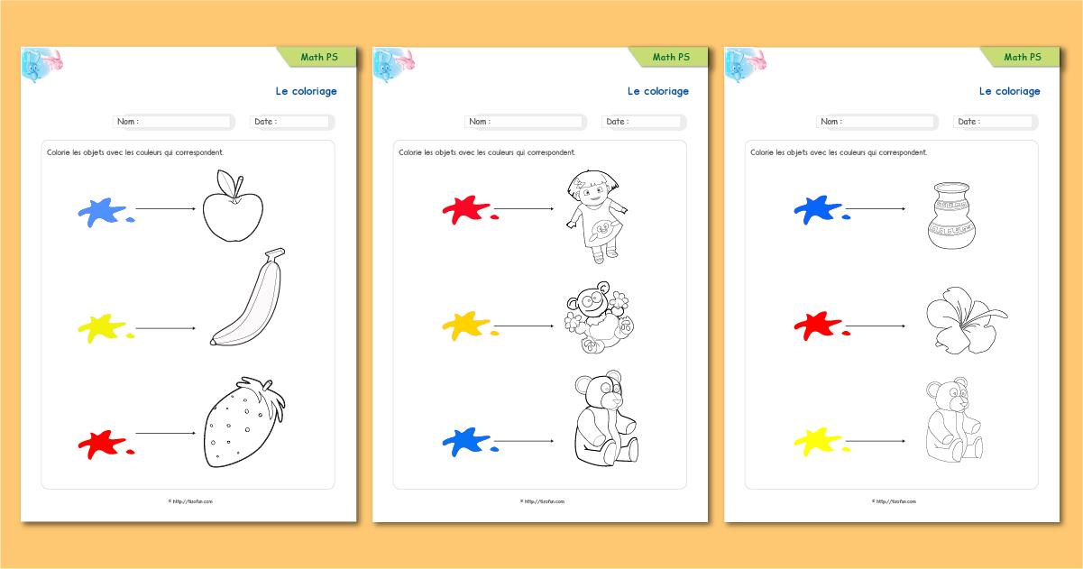 Le coloriage exercice de maths math matiques maternelle - Coloriage petite section ...